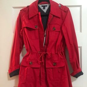 Red Trench Coat Fall Winter Rain